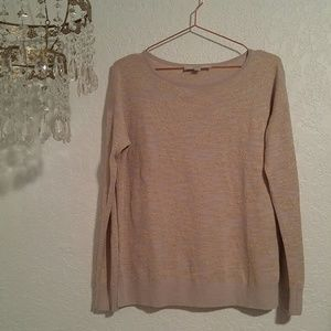 LOFT Metallic Cream & Gold Scoop Neck Sweater SZ M